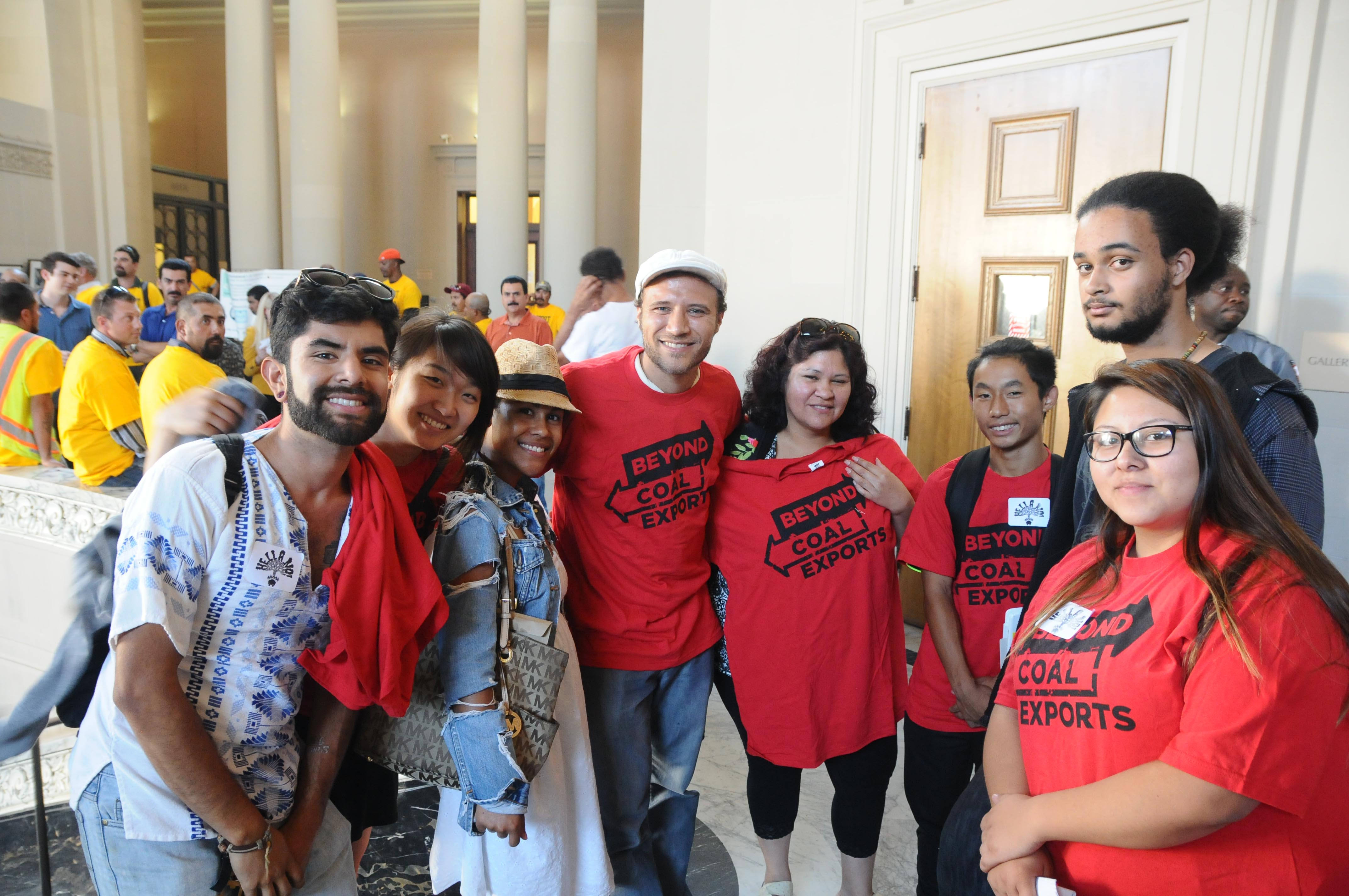 Demonstrators inside Oakland City Council hearing on coal. © 2015 Eric  K. Arnold