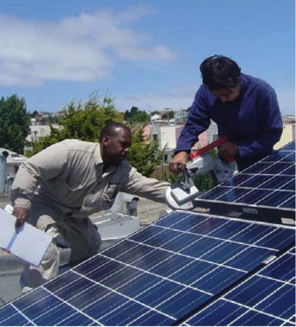 Solar installers at work. Courtesy of  www.sfenvironment.org