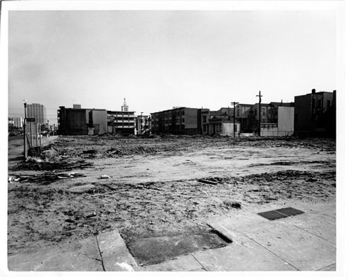 Fillmore district housing  removed. Courtesy of San Francisco History Center, San Francisco Public  Library