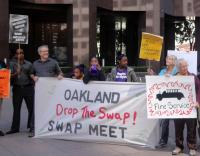 "SEIU Oakland ""Drop the Swap"" banner. Courtesy of seiu1021.org"