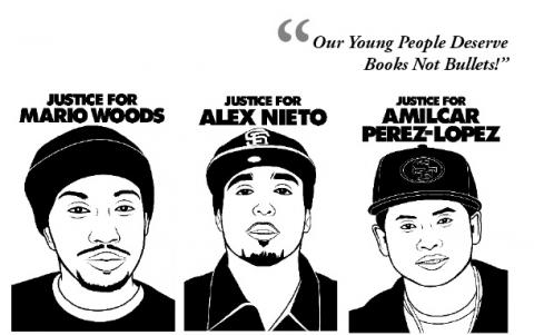 Detail from a poster calling on high school students to walk out in protest of San Francisco police murders of Alex Nieto, Amilcar Perez-Lopez, and Mario Woods. Nieto and Perez-Lopez studied at City College. Poster design by Adrea Ledet, portraits by Oree Originol.