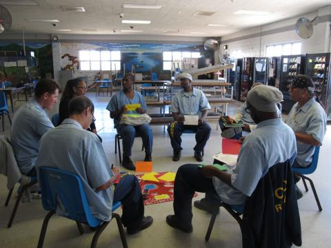 Restorative Justice Circle at Solano Prison in Vacaville, CA. Courtesy of Jo Bauen