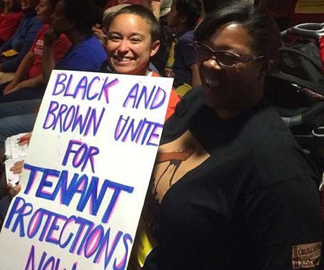 At Oakland City Hall to push for the Tenant Protections Ordinance, 2014. Photo courtesy of CJJC.